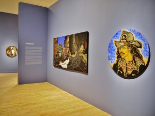 """Installation view, 'Martin Wong: Human Instamatic,' with the artist's """"Self-Portrait"""" (1993) in the foreground right (click to enlarge)"""