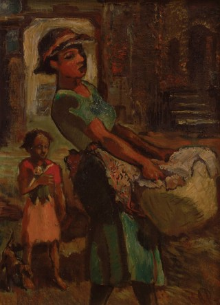 "James Amos Porter, ""Washerwoman"" (nd), oil on canvas, 18 x 13 in, Collection of Camille O. and William H. Cosby Jr (photo by Frank Stewart) (click to enlarge)"