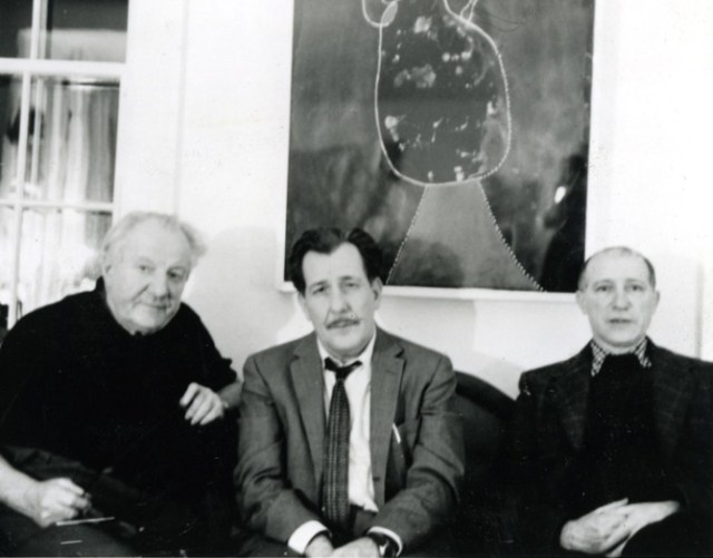 Artists (left to right) Hans Hofmann, Franz Kline, and Jack Tworkov at the Provincetown home of Hans Hofmann during Thanksgiving, 1958. Hanging above them is a work by Joan Miro, which was the crown jewel in Hofmann's personal art collection. (all photographs courtesy the Tworkov Family Collection and used with permission)