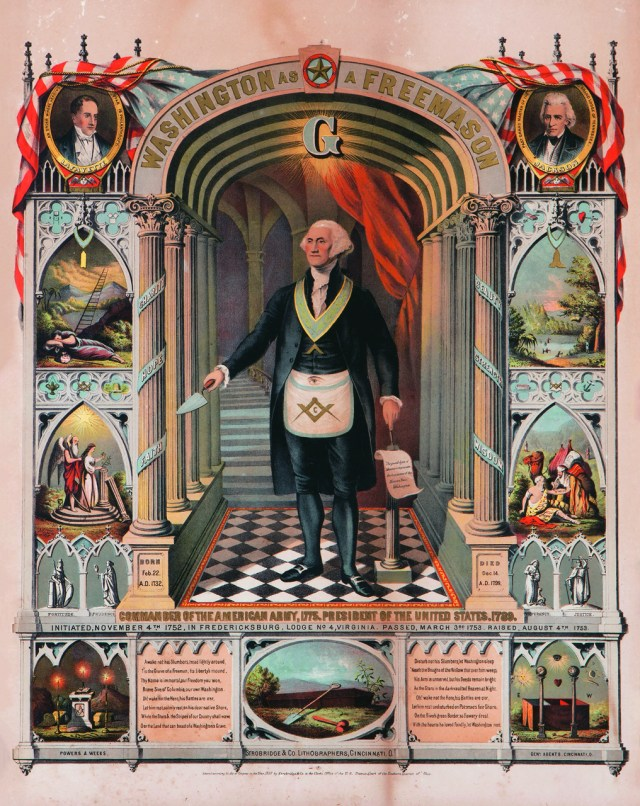 "Strobridge & Co., ""George Washington as a Freemason"" (1867, Cincinnati, Ohio), chromolithograph, 24 × 19 in. (courtesy Webb Collection)"
