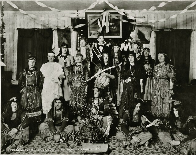 Improved Order of Red Men, Daughters of Pocahontas degree team, in ceremonial costumes, Tahoe Council No. 99, San Francisco (1910) (courtesy Webb Collection)