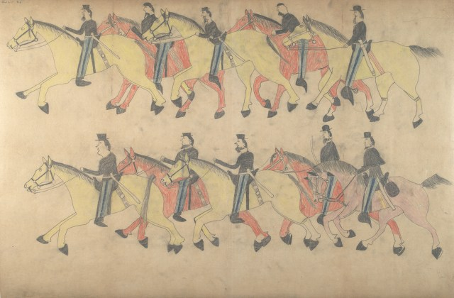 "Red Horse, ""Untitled from the Red Horse Pictographic Account of the Battle of the Little Bighorn"" (1881), graphite, colored pencil, and ink (NAA MS 2367A, 08568300, National Anthropological Archives, Smithsonian Institution)"