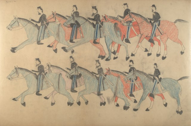 "Red Horse, ""Untitled from the Red Horse Pictographic Account of the Battle of the Little Bighorn"" (1881), graphite, colored pencil, and ink (NAA MS 2367A, 08568000, National Anthropological Archives, Smithsonian Institution)"