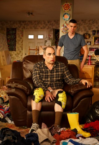Cameron Scoggins (back) and Daniel Oreskes (front) in Taylor Mac's 'Hir' at Playwrights Horizons
