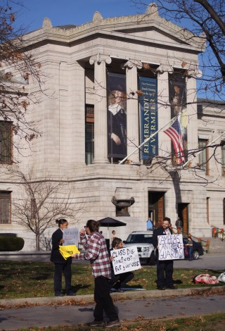 The MISU protests were held on the street in front of the main entrance of the MFA Boston on Huntington Avenue.