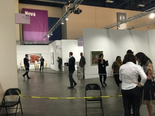 The area of Art Basel Miami Beach's Nova section that was blocked off after the incident. (all photos by Veken Gueyikian/Hyperallergic)