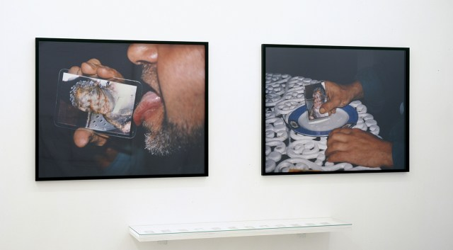 "Teresa Margolles, ""Tarjetas para picar cocaína (Cards to Cut Cocaine)"" (1997–1999), color photographs and twelve laminated cards, dimensions variable. (image courtesy the artist and Galerie Peter Kilchmann, Zürich)"