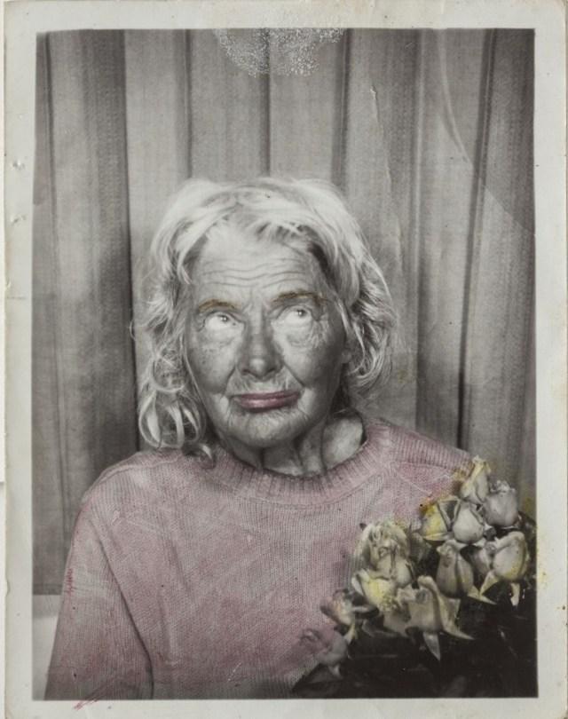 Lee Godie, untitled (detail from 12 photobooth self-portrait set), n.d., gelatin silver print, 12½ x 61 x 2½ in.