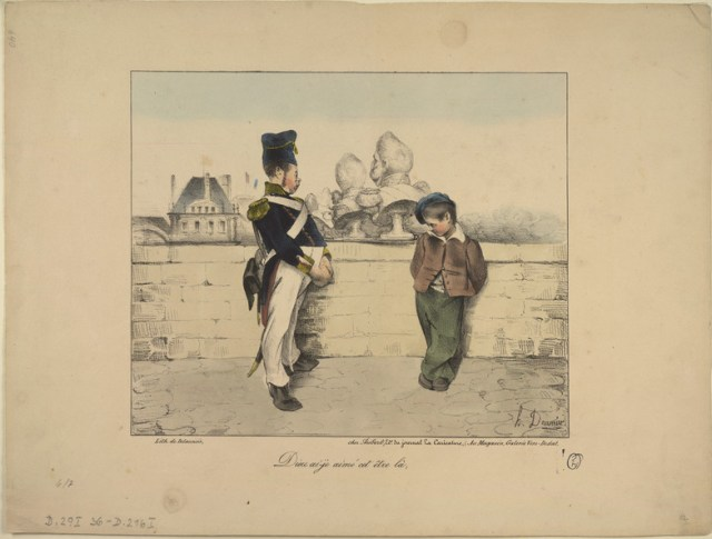 "Honoré Daumier, ""Dieu ai-je aimé cet être-là"" (1831). The print has a former National Guard member with a young street vendor selling the cast-off sculpture of his former failed leader Louis-Philippe. (courtesy Benjamin A. and Julia M. Trustman Collection of Honoré Daumier Lithographs Robert D. Farber University Archives & Special Collections Department Brandeis University)"