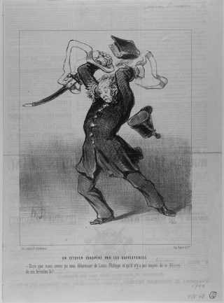 "Honoré Daumier, ""Un Citoyen Exaspéré par les Buffleteries"" (1848). The print is believed to show Daumier himself, representing the ""citizen soldiers"" disarmed in the National Guard after the King went into exile in England. (courtesy Benjamin A. and Julia M. Trustman Collection of Honoré Daumier Lithographs Robert D. Farber University Archives & Special Collections Department Brandeis University)"