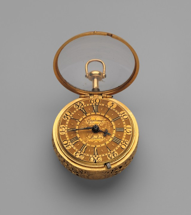 Watchmaker: George Graham (British, 1673–1751) 1719–20 Medium: Outer case, inner case, and champlevé dial: gold; Movement: gilded brass and partly blued steel The Metropolitan Museum of Art, Gift of Captain Newton H. White Jr. U.S.N., 1952