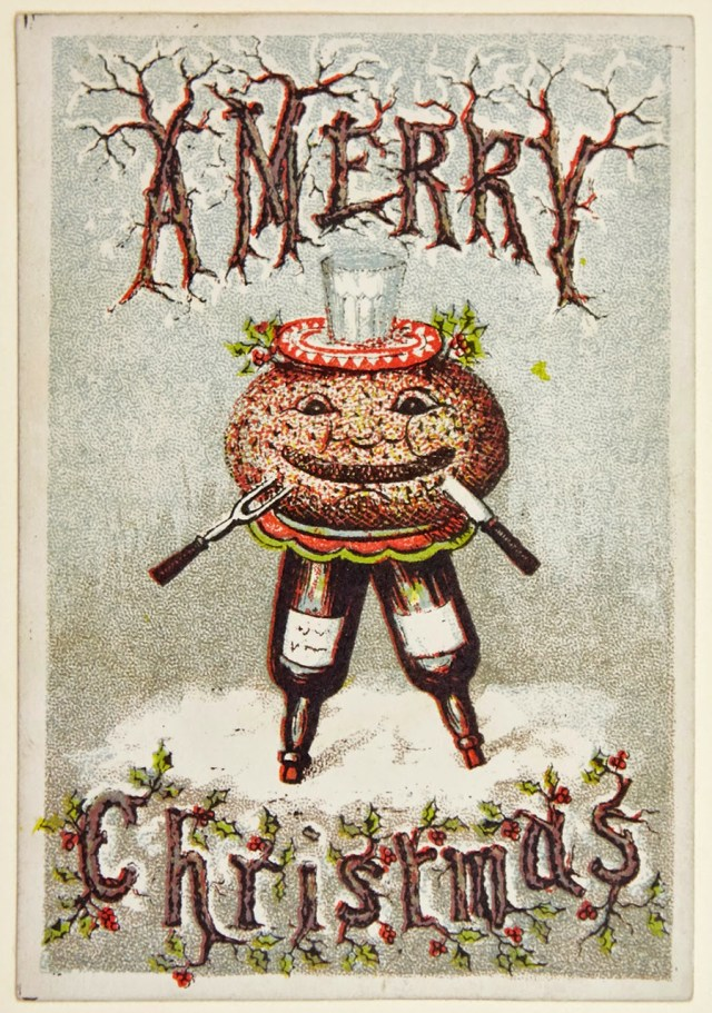 A Christmas pudding-themed card (via Laura Seddon collection/Machester Metropolitan University)