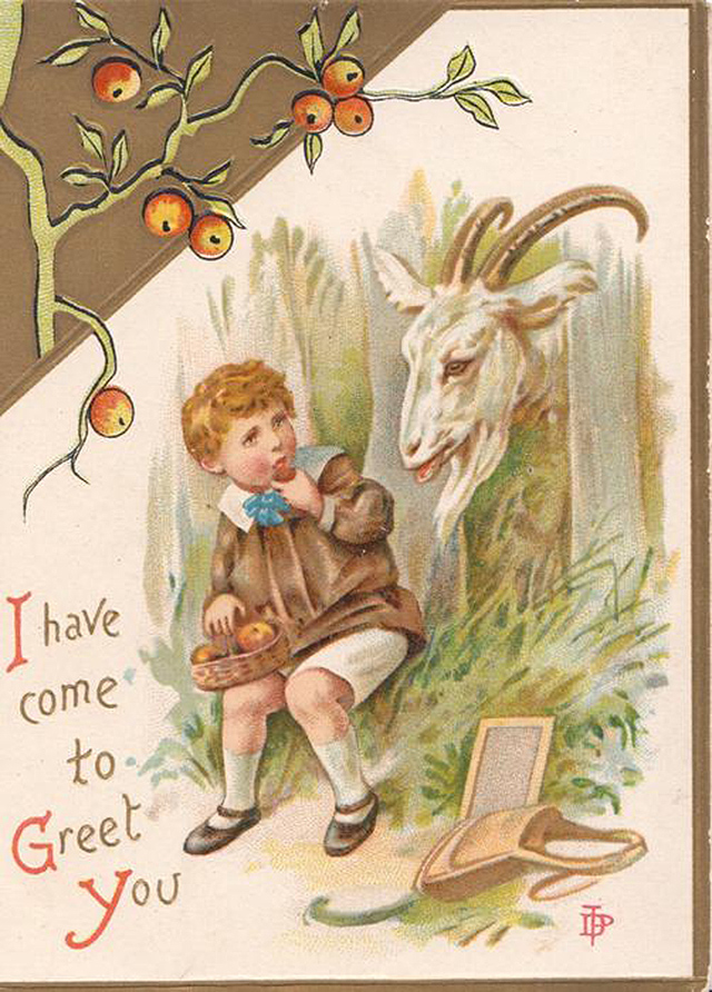 """I have come to greet you"" (inside it says: ""Loving Christmas greetings, may smiling faces ring around your glowing hearth this Christmas day, may fun and merriment abound, and all your world be glad and gay"" (via TuckDB Ephemera)"