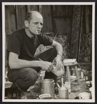 """Rudy Burckhardt, """"Jackson Pollock holding a can of paint"""" (1950) (courtesy of the Archives of American Art, Smithsonian Institution)"""