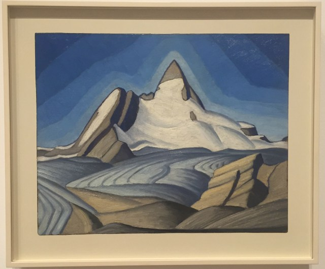 """Lawren Harris, """"Isolation Peak (Isolated Peak above Yoho National Valley, Rocky Mts.)"""" (c. 1929), oil on beaverboard, Private Collection"""