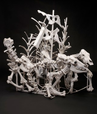 """Thornton Dial, """"Lost Cows"""" (2000-2001), cow skeletons, steel, golf bag, golf ball, mirrors, enamel, and Splash Zone compound, 76.5 x 91 x 52 inches (photo by Stephen Pitkin/Pitkin Studio, courtesy Souls Grown Deep Foundation) (click to enlarge)"""