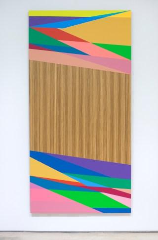 "Odili Donald Odita, ""Distant Relative"" (2015), acrylic latex on panel, 96 x 48 inches"