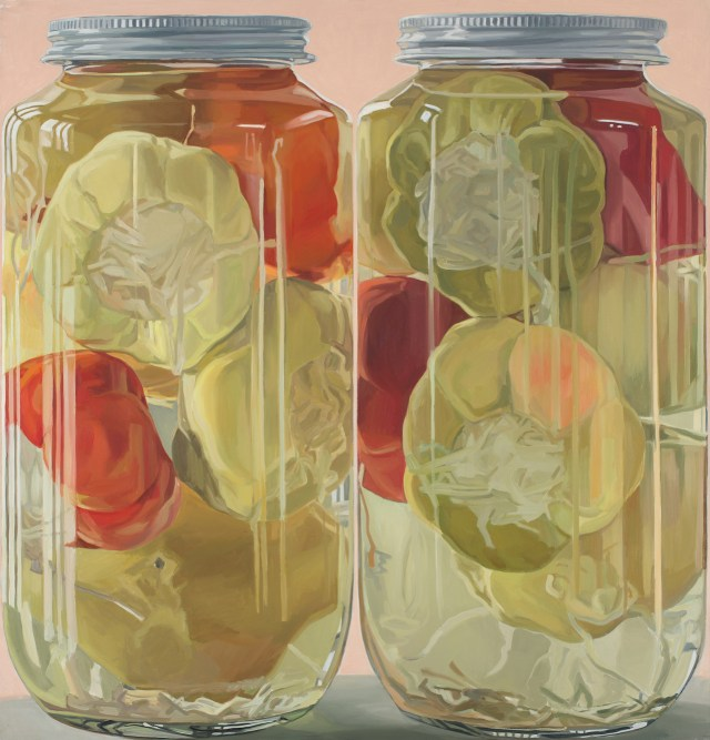 "Janet Fish, ""Stuffed Peppers"" (1970), oil on canvas, 59 x 57 in"