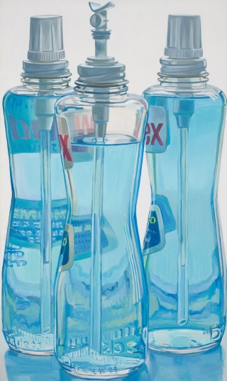"Janet Fish, ""Windex Bottles"" (1971–72), oil on linen, 49 3/4 x 29 3/4 in"