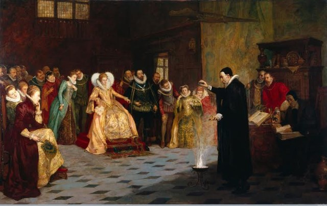 "Henry Gillard,"" John Dee performing an experiment before Queen Elizabeth I"" (1913) (courtesy Wellcome Library, London)"