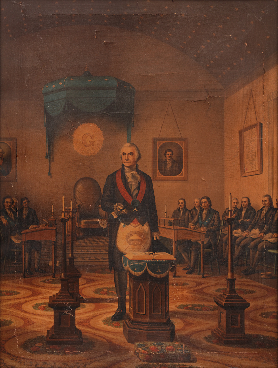 Washington as a Freemason, Publisher unidentified (United States, late-19th century), oleograph on linen, 28 1/2 x 22 3/8 x 1 3/8 inches (courtesy American Folk Art Museum, photo by José Andrés Ramírez)