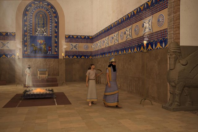 "The recreated throne room of the Palace of Ashurnasirpal II from the ""Nimrud Rising"" immersive virtual reality project (courtesy of Learning Sites, Inc. and the Antiquities Coalition)"