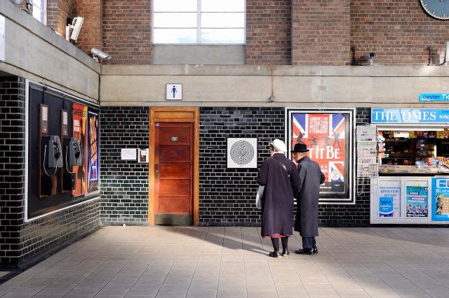 One of Mark Wallinger's Labyrinth prints will be on display in Out There. Labyrinth, Mark Wallinger, Network wide London Underground, Commissioned by Art on the Underground, 2013. Photo: Thierry Bal