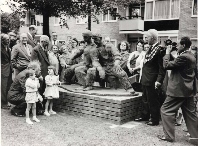 Unveiling day for Siegfried Charoux's The Neighbours, Highbury Quadrant Estate, 1959, London. In 1956 the London County Council set up the Patronage of the Arts Scheme, where money was set aside each year to purchase such works of art.