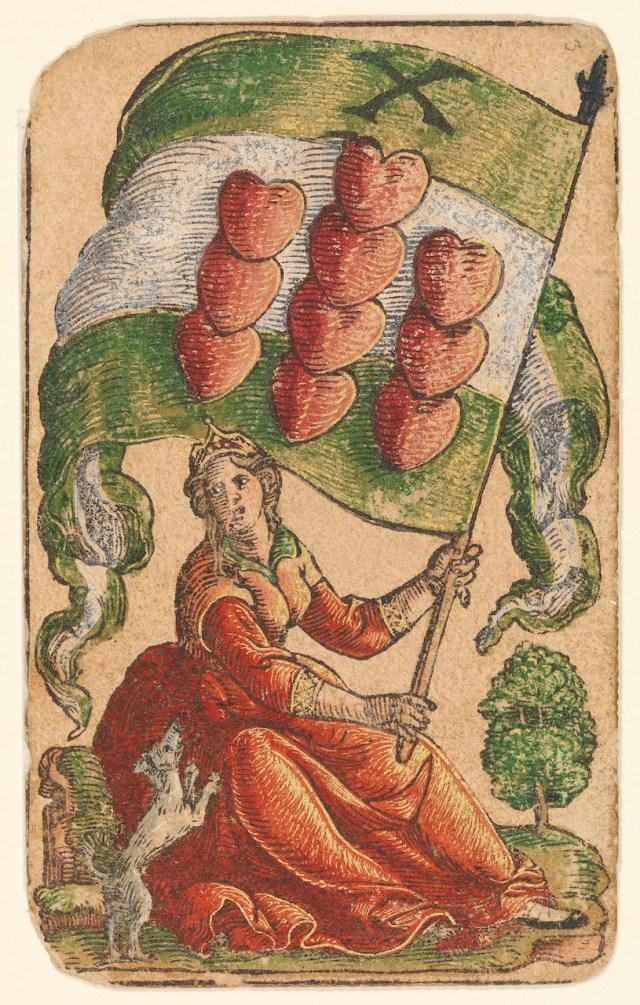 """""""Banner of Hearts"""" from """"The Playing Cards of Peter Flötner,"""" published by Hans Christoph Zell (Nuremberg, 1540), woodcut on paper with watercolor, opaque paint, and gold, 4 1/8 x 2 3/8 inches (© Germanisches Nationalmuseum, Nuremberg, photo by Georg Janssen)"""