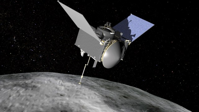 Artist's conception of the OSIRIS-REx spacecraft at Bennu (courtesy NASA Goddard Space Flight Center)