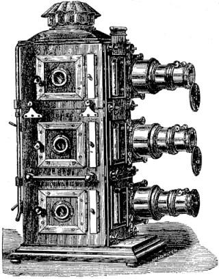 "1888 woodcut illustration of a ""Docwra"" triple lantern (© 2011 Richard Crangle) (click to enlarge)"