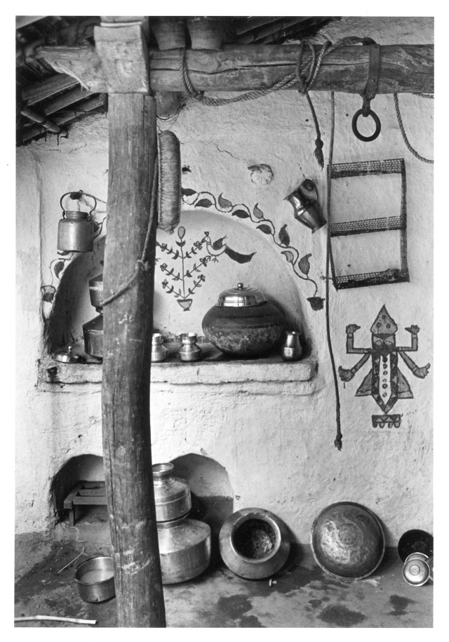 """Bhupendra Karia, """"Painted Wall with Brass Pots,"""" (Dewat, 1969)"""