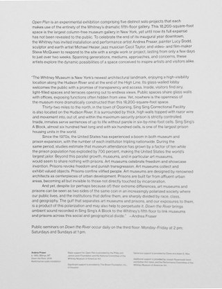 Wall text for 'Andrea Fraser: Open Plan' (click to enlarge)