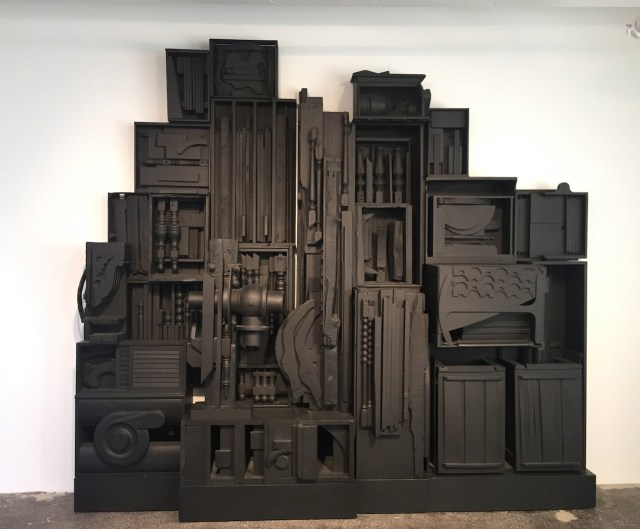 """Louise Nevelson, """"Sky Cathedral/Southern Mountain"""" (1959), Wood painted black, 114 x 124 x 20 in."""