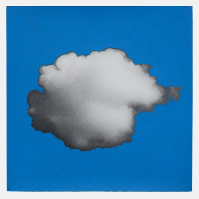 "Tacita Dean, ""Sean's Cloud"" (2016), chalkboard paint on hand-printed silver gelatin photograph mounted on paper, 39 5/16 x 39 5/16 in (all images courtesy Marian Goodman Gallery)"