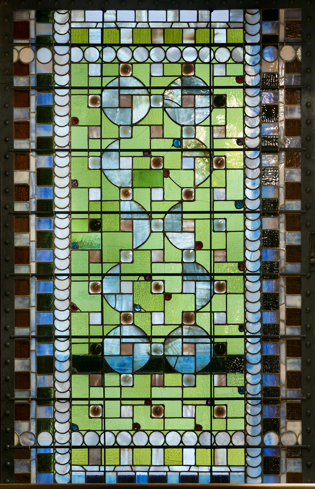 Stained glass window by Louis Comfort Tiffany in the restored and revitalized Veterans Room