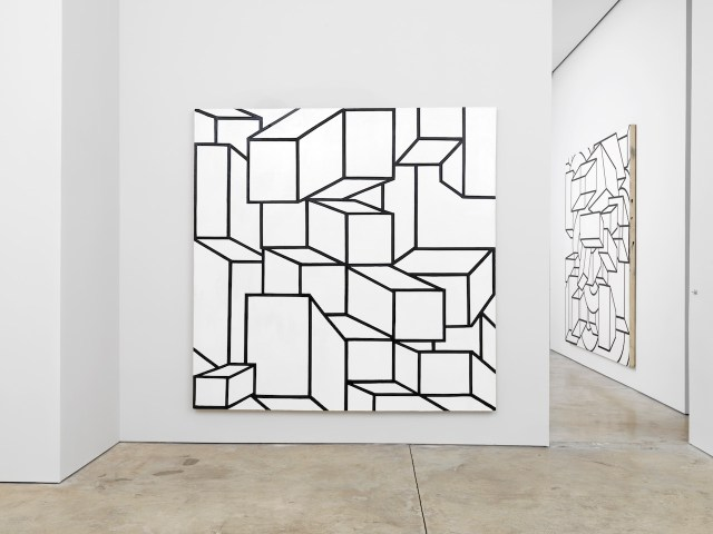 """Installation view of 'Al Held: Black and White Paintings' at Cheim & Read with """"B/W XIV"""" (1968) at center (photo by Brian Buckley for Cheim & Read, New York)"""