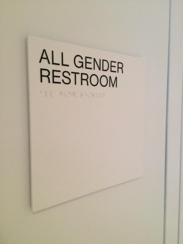 Gender neutral bathroom signs at the Whitney (photo by Ben Sutton for Hyperallergic) (click to enlarge)
