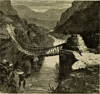 Illustration of a rope bridge in 'Old Civilizations of Inca Land' (1924) (via Internet Archive Book Images)