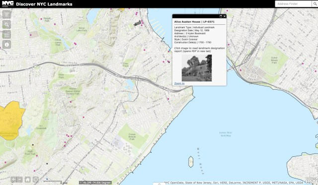 Alice Austen House on Discover NYC Landmarks (screenshot by the author for Hyperallergic)