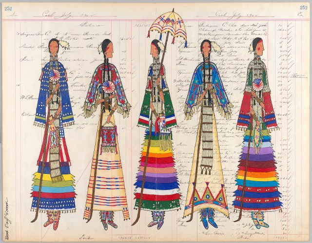 """Lauren Good Day Giago, """"Independence Day Celebration"""" (2012), antique ledger paper, colored pencil, graphite, ink, felt-tipped marker (photo by Ernest Amoroso/NMAI)"""