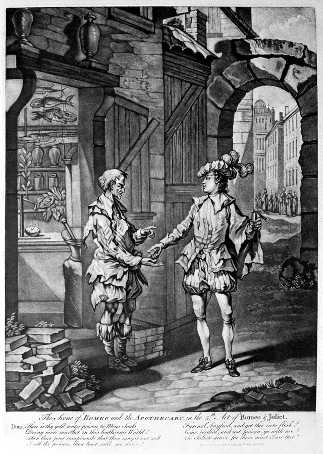 A depiction of Romeo buying a poison from an apothecary (via Wellcome Images/Wikimedia)