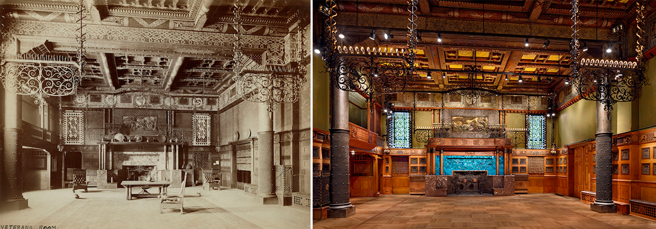 Side-by-side comparison of the Veterans Room as it first opened in 1881 and after its restoration by Herzog & de Meuron (courtesy Park Avenue Armory) (click to enlarge)