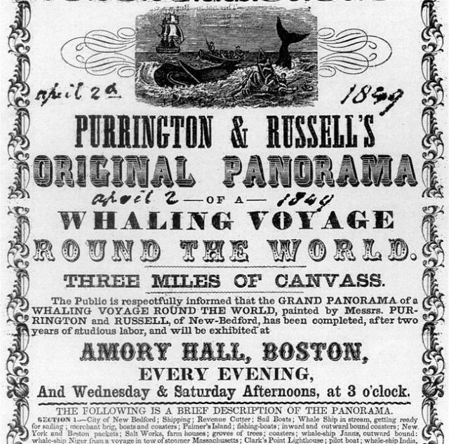 """Advertisement for an 1849 showing of the """"Whaling Voyage Around the World"""" moving panorama at Boston's Amory Hall (via Wikimedia)"""