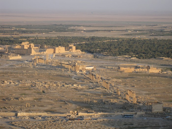 Overview of the site from the medieval castle (Qal'at Shirkuh), looking southeast: Temple of Bel middle left; Great Colonnade center (photo by Judith McKenzie/Manar al-Athar)