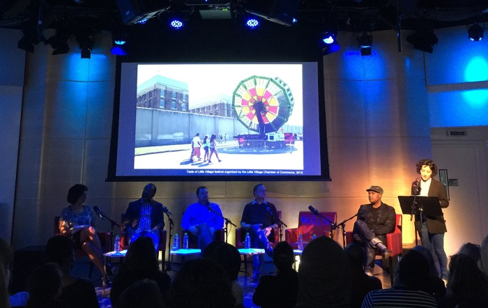 Maria Gaspar introducing her work at the Creative Conversations panel, April 19, 2016, New York City (photo by author for Hyperallergic)
