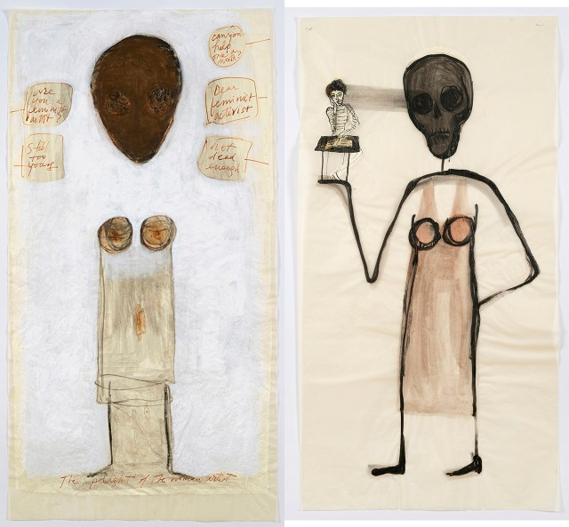 """Mira Schor, left: """"'Power' Figure #7: Still Too Young, Not Dead Enough"""" (2015), pastel, ink, and gesso on tracing paper, 45 x 24 inches; right: """"'Power' Figure #14: Mira at 19 and Now"""" (2015), ink and gesso on tracing paper 45 x 24 inches (click to enlarge)"""