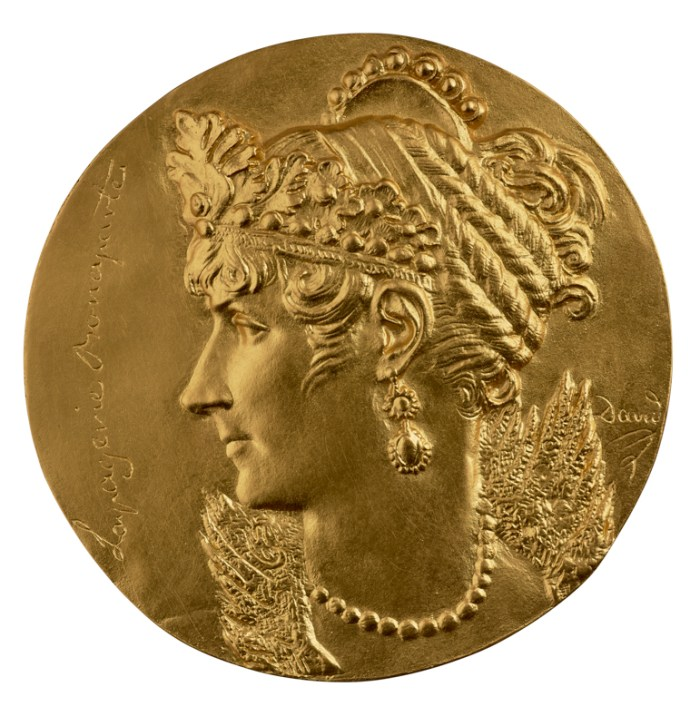 """David d'Angers, """"Empress Josephine Lapagerie Bonaparte"""" (1804), gilt bronze, 177.8 mm (photo by Michael Bodycomb, courtesy Stephen K. and Janie Woo Scher Collection)"""