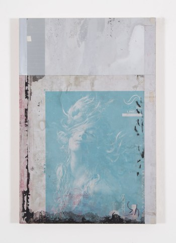 """Gabriel de la Mora, """"PAI / 7 - I f"""" (2015), discarded aluminium plate from offset printing press, mounted on wood (courtesy the artist and Timothy Taylor, London)"""