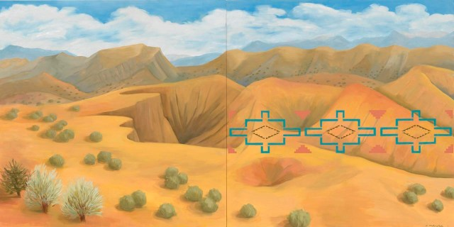 """Kay WalkingStick, """"New Mexico Desert"""" (2011), oil on wood panel, 40 x 80 x 2 in, purchased through a special gift from the Louise Ann Williams Endowment, 2013 (National Museum of the American Indian)"""